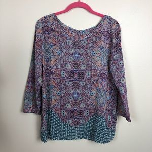 Anthropologie Maeve 100% silk printed blouse 8